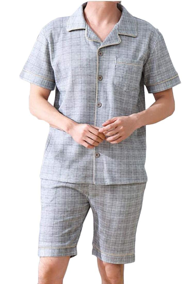 pipigo Mens Checkered Short Sleeve Loungewear Camouflage Comfy Lounge Pajama Set