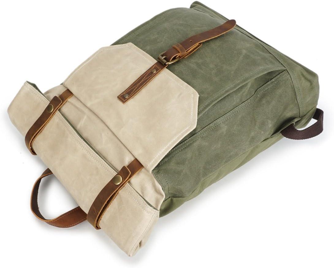 Dig dog bone Mens Backpack Rucksack Retro Crazy Horseskin Student Travel Bag Waterproof Backpack
