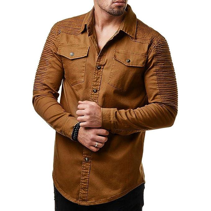 Blusa Hombre Manga Larga, Volantes Stand-Cuello Botón Color Sólido Moda Casual Slim Camiseta Top con Bolsillos: Amazon.es: Ropa y accesorios