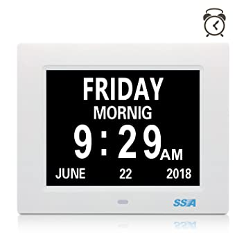 SSA Reloj digital de día calendario con gran tiempo de claridad Día y fecha de visualización, colgante de pared ...