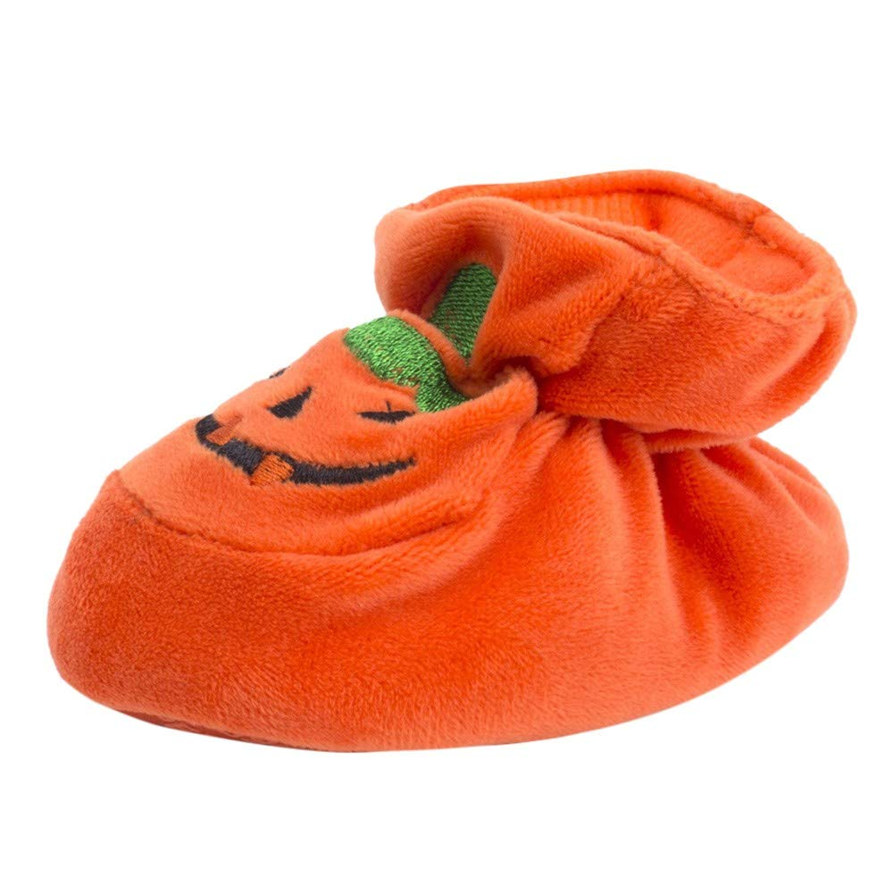 LILICAT Halloween Shoes Newborn Toddler Baby Girls Boys Halloween Flock Pumpkin Soft Sole Casual Shoes Orange for Party