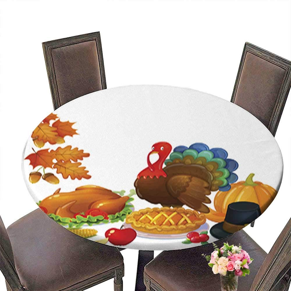 Round Tablecloth Waterproof Polyester Table,Still Life Thanksgiving Icons Tablecloth for Wedding/Party up to 31.5''-33.5'' Diameter