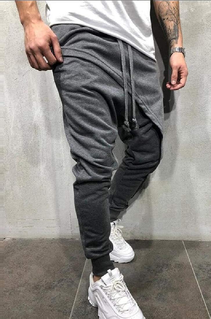 Alion Mens Hip Hop Drawstring Sweatpants Trousers Low Crotch Joggers Harem Pants