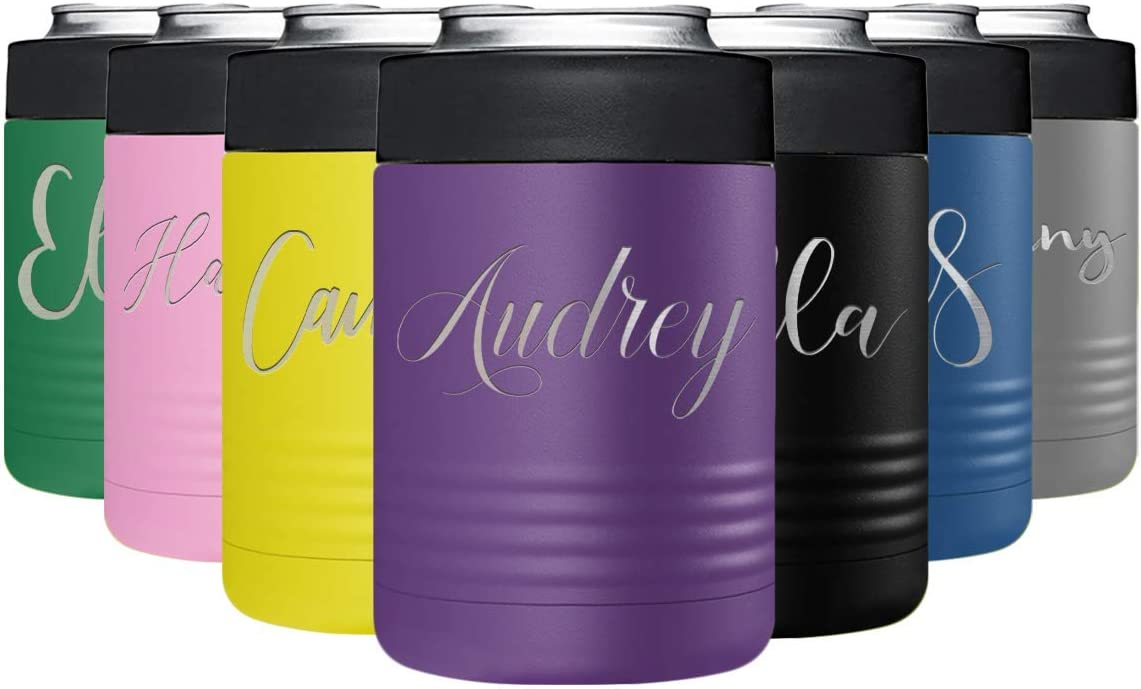 Personalized Can Cooler Purple Custom Engraved Stainless Steel Insulated 12 oz Bottle Beverage Holder