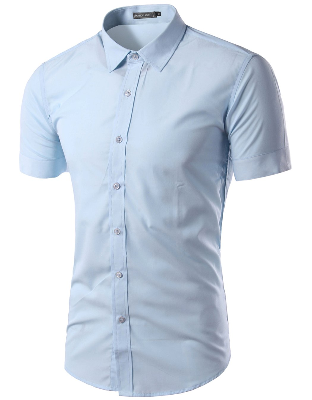 Mada Mens Casual Short Sleeve Business Dress Shirt Solid Slim Fit Shirt, Light Blue, Asian X-Large/US Small