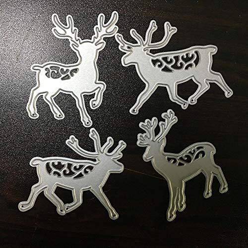 Dies Deer Metal Cutting Dies Monkey Metal Dies 4Pcs Deer Elk Moose Dcorative Embossing Scrapbooking Craft Dies Cuts Stamp Paper Card Stencil