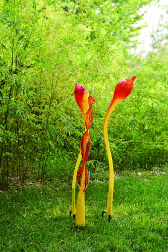 Coloriscape 3-Piece Bloom Yard Art Set, Red/Yellow