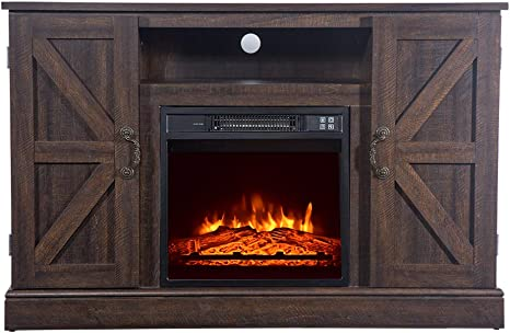 Awolf 47 Wood Electric Fireplace Mantel Package 1400w Fireplace Tv Cabinet Freestanding Heater Corner Firebox With Log Hearth And Remote Control Home Kitchen