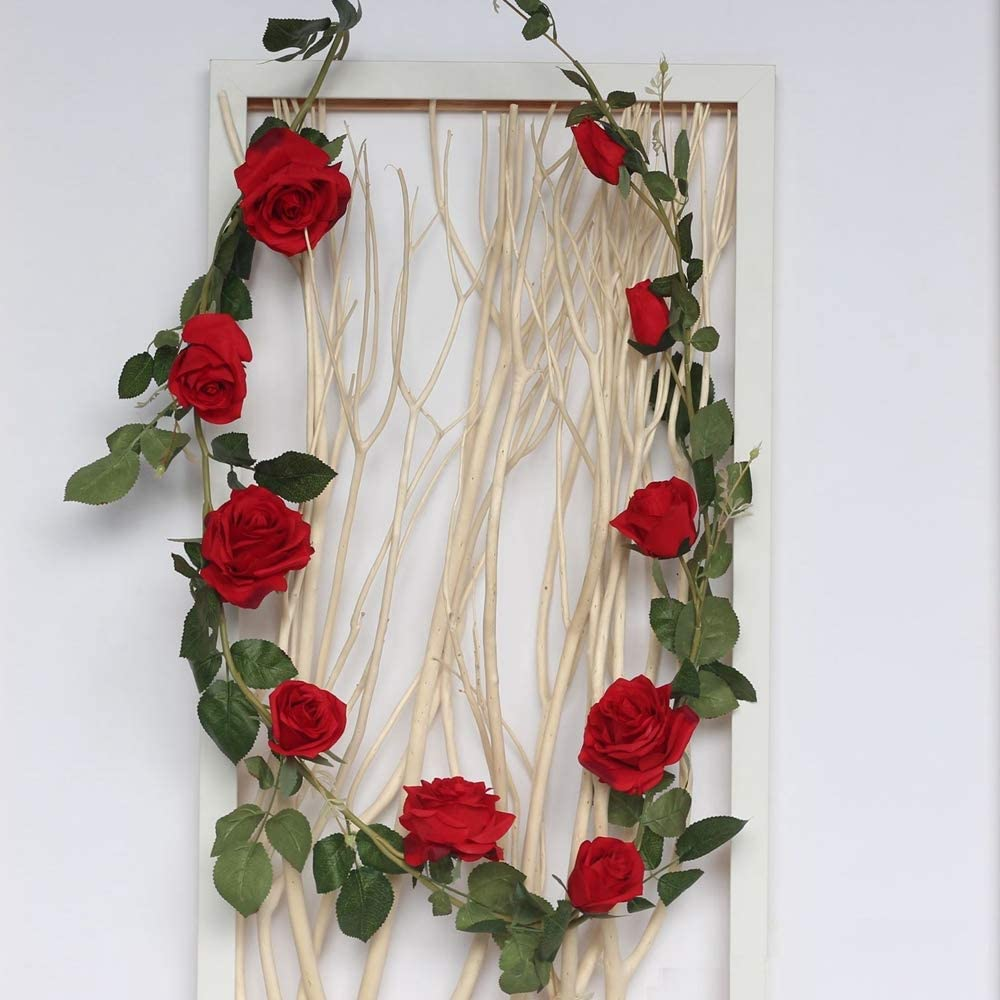DerBlue 5.9Ft Artificial Rose Flowers Vine Silk Rose Garland Fake Flowers Silk Roses Garland for Wedding Decorations Garden Wall Valentine Decoration (Red)
