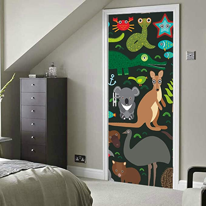 """Door wall sticker cover bamboo forest green trees way 30x79/"""" 77x200cm"""