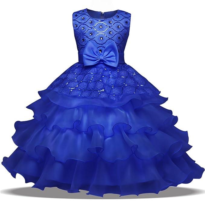 79b258ee5 OBEEII Vestido Elegante de Niña Vestidos Midi Multicapa Ropa Verano Disfraz  de princesa para Boda Madrina Fiesta Ceremonia Comunión Cumpleaños Carnaval  ...
