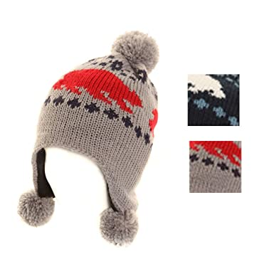 eb79841f5c13 Baby Boys Polar Bear Design Peru Trapper Pom Pom Knitted Hat - One Size  Approx 12