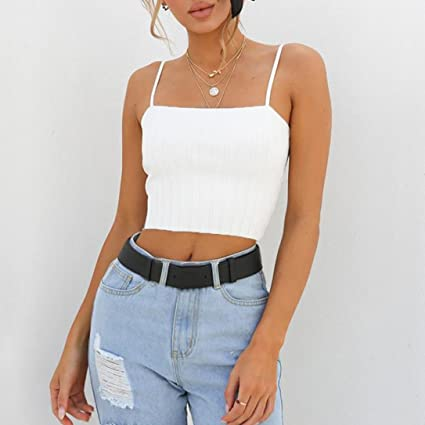 Crop Tops, FORUU Womens Summer Sexy Slim Solid Vest Off Shoulder Halter Camis at Amazon Womens Clothing store: