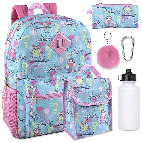 Girl's 6 in 1 Backpack Set With Lunch Bag, Pencil Case, Bottle, Keychain, Clip (Owl) (Back To Basics Disney Ice Cream Maker)