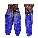 High Waist Yoga Pants,Han Shi Hot Sale Fashion Men Women Boho Festival Trousers (Dark Blue, Free Size)