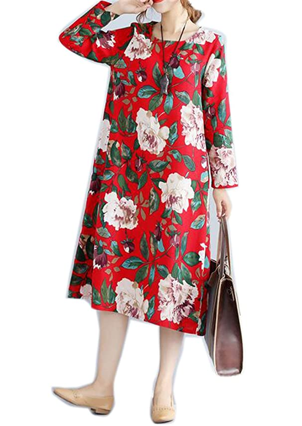 Amazon.com: Hexu NEW New Autumn dress Cotton Linen long Sleeve Loose long dress Vintage Women dress Vestidos Robe Elbise: Clothing
