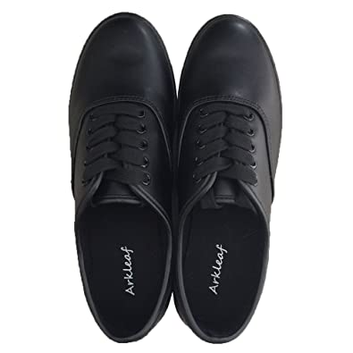 93fb07aad5c87a Amazon.com  Arkleaf Women s Slip Oil Resistant Non Slip Work Safety Lace Up  ARK001 Black Leather Flat Shoes  Shoes