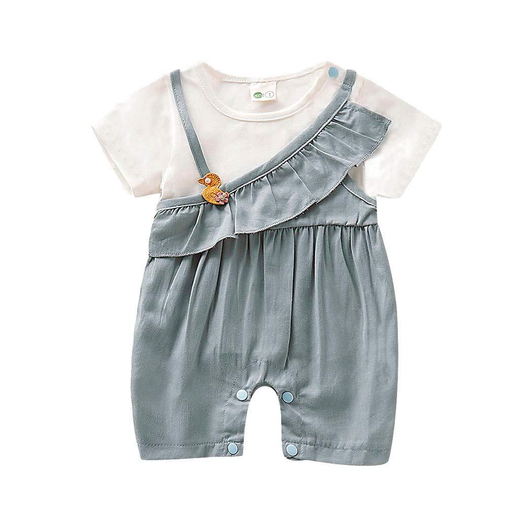 ❤️ Mealeaf ❤️ Infant Baby Girls Short Sleeve Duck Print Ruffles Jumpsuit Romper Clothes(Gray,5)