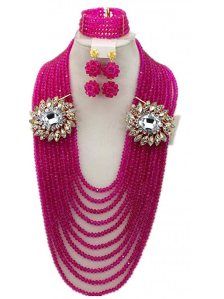 Soyagift African Wedding Long Style 2 Brooches Pink Crystal Beads Jewelry Set by Soyagift