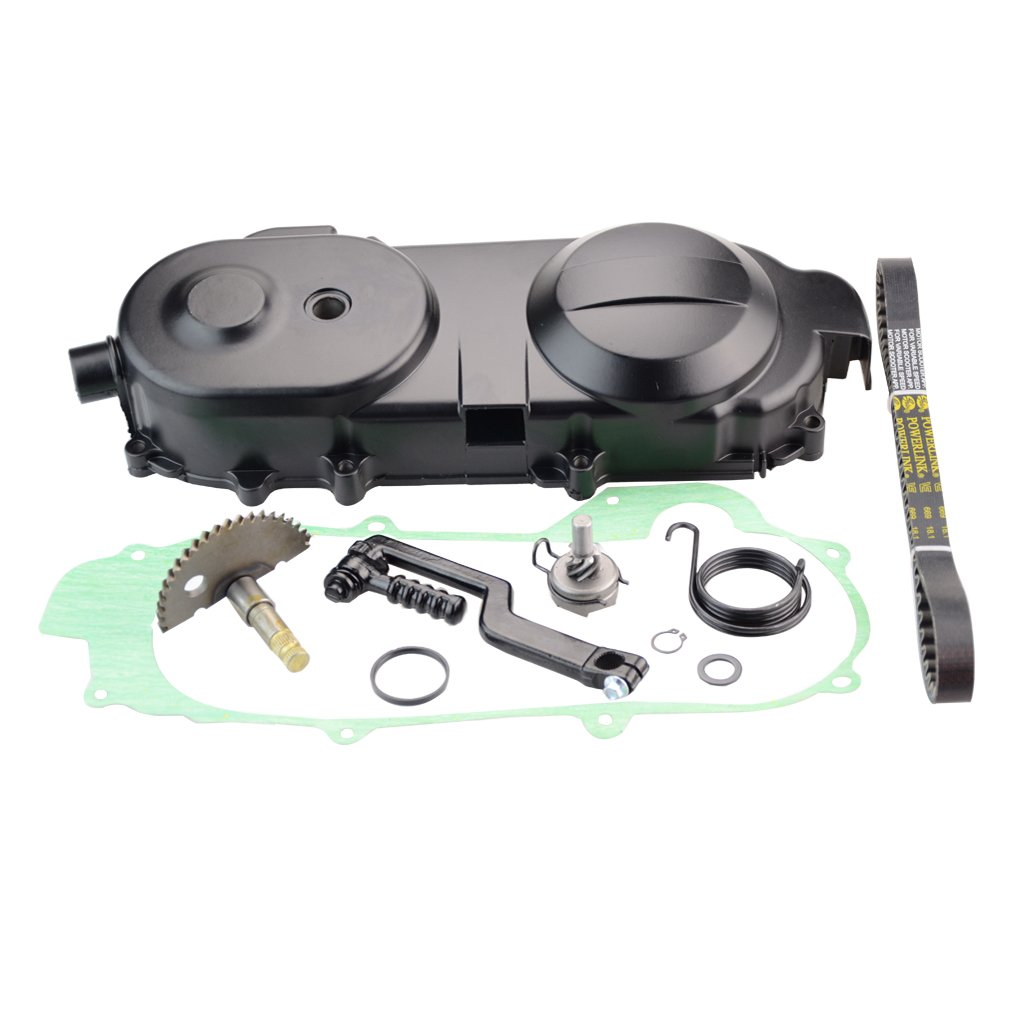 GOOFIT Transmission Cover Assembly with Start Gear Shaft Belt for GY6 49cc 50cc Scooter Moped Short Case Version