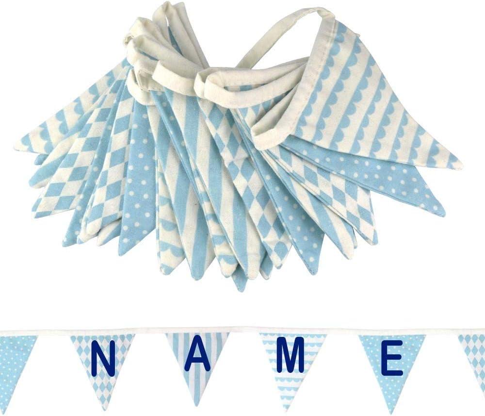 Elefantasie Wimpelkette mit Namen oder Text personalisiert aus Stoff f/ür/´s Kinderzimmer blau