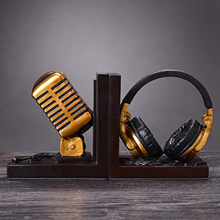 CS Auriculares con micrófono Libro Bloque de decoración Dormitorio ...