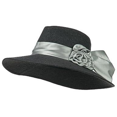 9a6af08076c Wide Brim Dressy Hat with Flower Decoration - Grey OSFM at Amazon ...