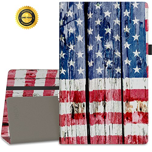 "Vori Case for All-New Amazon Fire HD 10 Tablet (7th Generation, 2017 Release) - Premium PU Leather Slim Fit Smart Stand Cover with Auto Wake / Sleep for amazon Fire HD 10.1"" Tablet,American Flag"