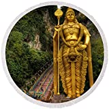 """Pixels Round Beach Towel With Tassels featuring """"Statue Of Murugan"""" by Adrian Evans"""