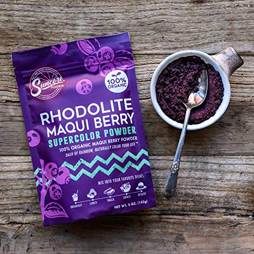 Suncore Foods – Organic Rhodolite Maqui Berry Supercolor Powder, 5oz – Natural Maqui Berry Food Coloring Powder, Plant Based, Vegan, Gluten Free, Non-GMO 3
