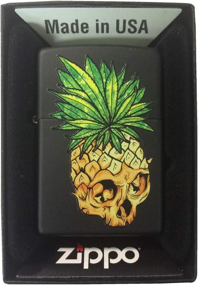 Zippo Custom Lighter - Black Matte Pineapple Skull Leaf Fire Eyes Punk Fruit Design - Gifts for Him, for Her, for Boys, for Girls, for Husband, for Wife, for Them, for Men, for Women, for Kids