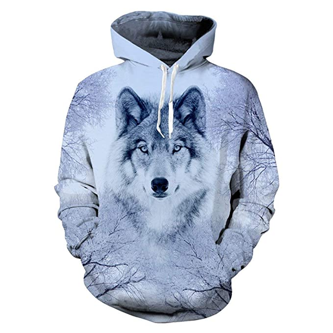 Marciay EUR Size Sudadera Capucha Hoodies Fashion Wolf Plus con Slim Fit Print Wolf Animal para Hombre Hip Hop Unisex Pullovers con Grandes Bolsillos Tops: ...