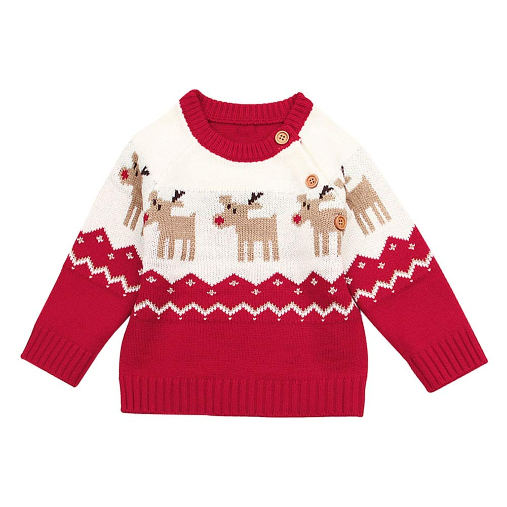 BOBORA Baby Girls Boys Christmas Jumpers Toddler Kids Long Sleeved Deer Floral Knitted Sweater Top Shirts for 0-24Months BO-UK1055