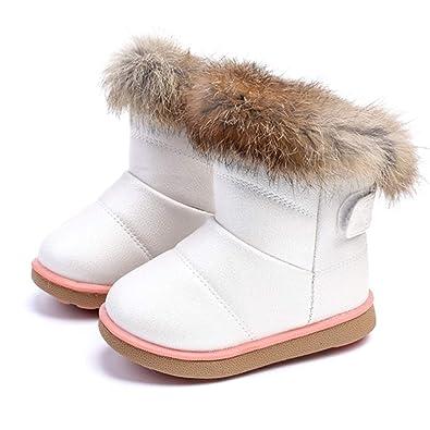 ffe82b7569697 Fille Enfant Bottes d hiver Chaude Chaussure de Neige Martin Fourrée épais  Noir Blanc Mi