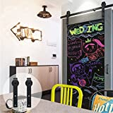 CCJH Country Antique Sliding Barn Door Hardware Track Set Sliding Wooden Cabinet Closet 6.6FT /79 inches Flat Style for Wood Single Door Black