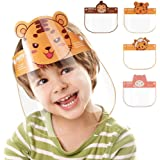 4 PCS Face Shield Kids 2-8 Years, Anti-saliva Anti-Spitting Full Face Isolation Protective Sun Cap for Children (4 PCS - Tiger)