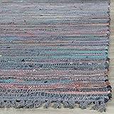 Safavieh RAR121K-4 Rag Rug Collection Hand Woven Aqua/Multi Cotton Area Rug, 4-Feet by 6-Feet