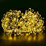 Solar String Lights, BIRUGEAR Decorative Flower Solar Powered String Lights 50 LED For Outdoor, Gardens, Lawn, Patio, Wedding, Christmas, Parties - Warm White