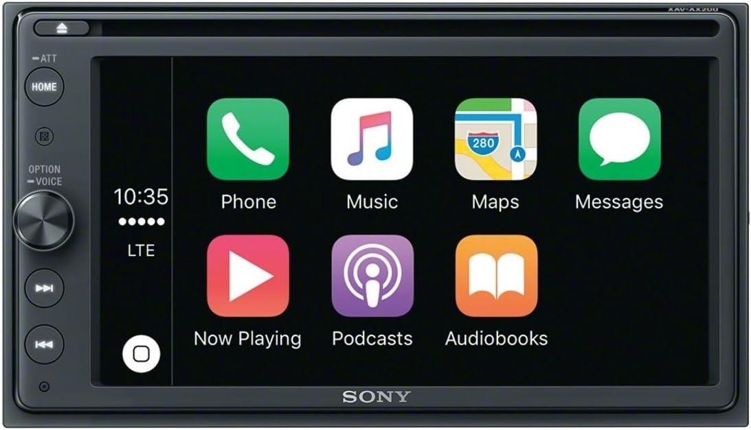 Sony XAV-AX200 - Receptor multimedia de coche con DVD (Bluetooth, CarPlay/AndroidAuto, 4 x 55 W, ecualizador 10 bandas, preamplificador 3x, Extra Bass, USB) negro