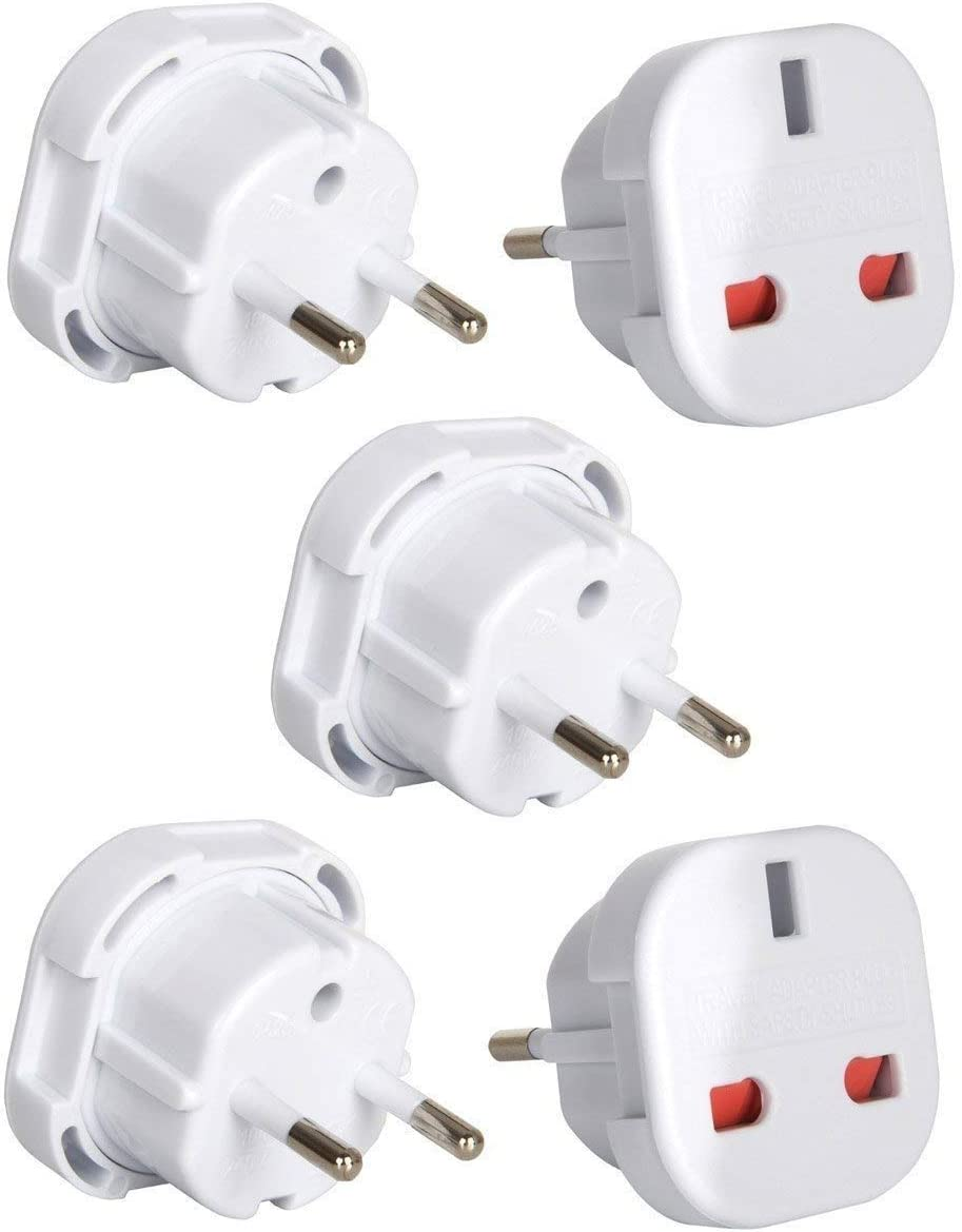 Tech Traders YD-9625 - Adaptadores de enchufe del Reino Unido a la UE, de dos patillas, color blanco, 5 unidades: Amazon.es: Electrónica