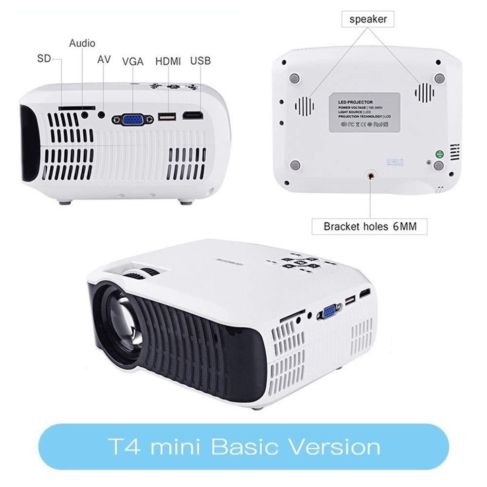 HD T4 Mini LED Proyector 1280x720 Portátil Beamer Home Cinema ...