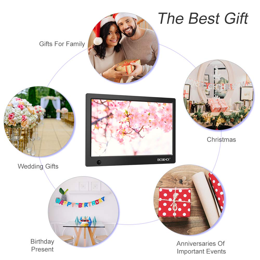 Beschoi 10 inch Digital Photo Frame HD LED Picture Videos Frame with Motion Sensor, MP3/Calendar/Clock by Beschoi (Image #3)