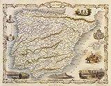 1800's SPAIN PORTUGAL MADRID BARCELONA LISBOA MAP 12