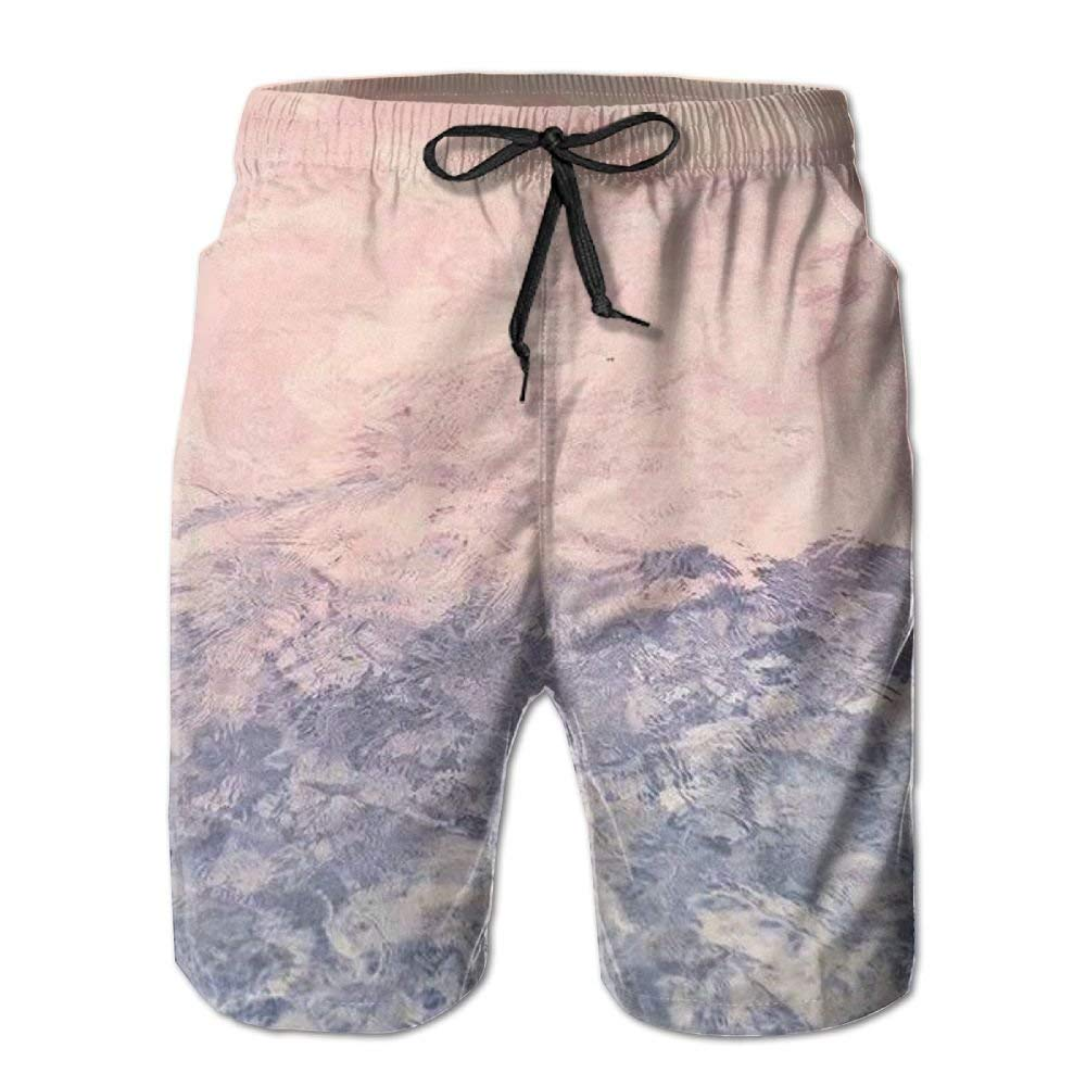 dab7c3452e Amazon.com: Gradually Changing Color Marbling Men With Pocket Quick Dry  Beach Shorts Waist Elastic Design Swim Trunks Swimwear Home Shorts: Clothing