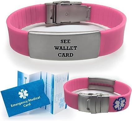Free emergency wallet Card Free engraving! Sport Medical Alert ID Bracelet