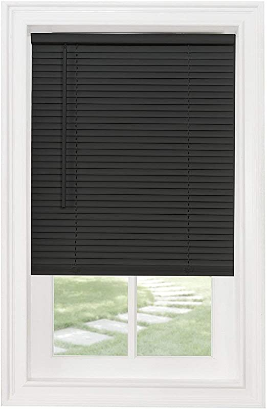 Amazon Com Achim Set Of 2 Cordless Mini Blinds 27 Wide X 64 Long Black Home Kitchen
