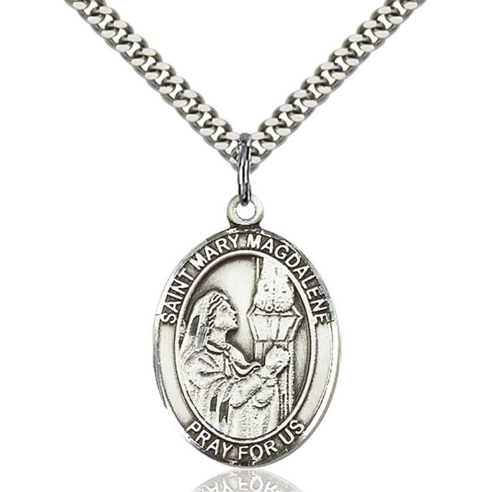 Bonyak Jewelry St Mary Magdalene Hand-Crafted Oval Medal Pendant in Sterling Silver