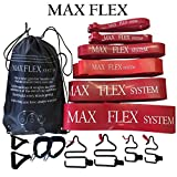 MAX FLEX heavy weight resistance band fitness system set THE ONLY Adjustable Buckle Bands! Works with existing gym handles & TRX. Total body home travel portable gym workout Great for bodybuilding