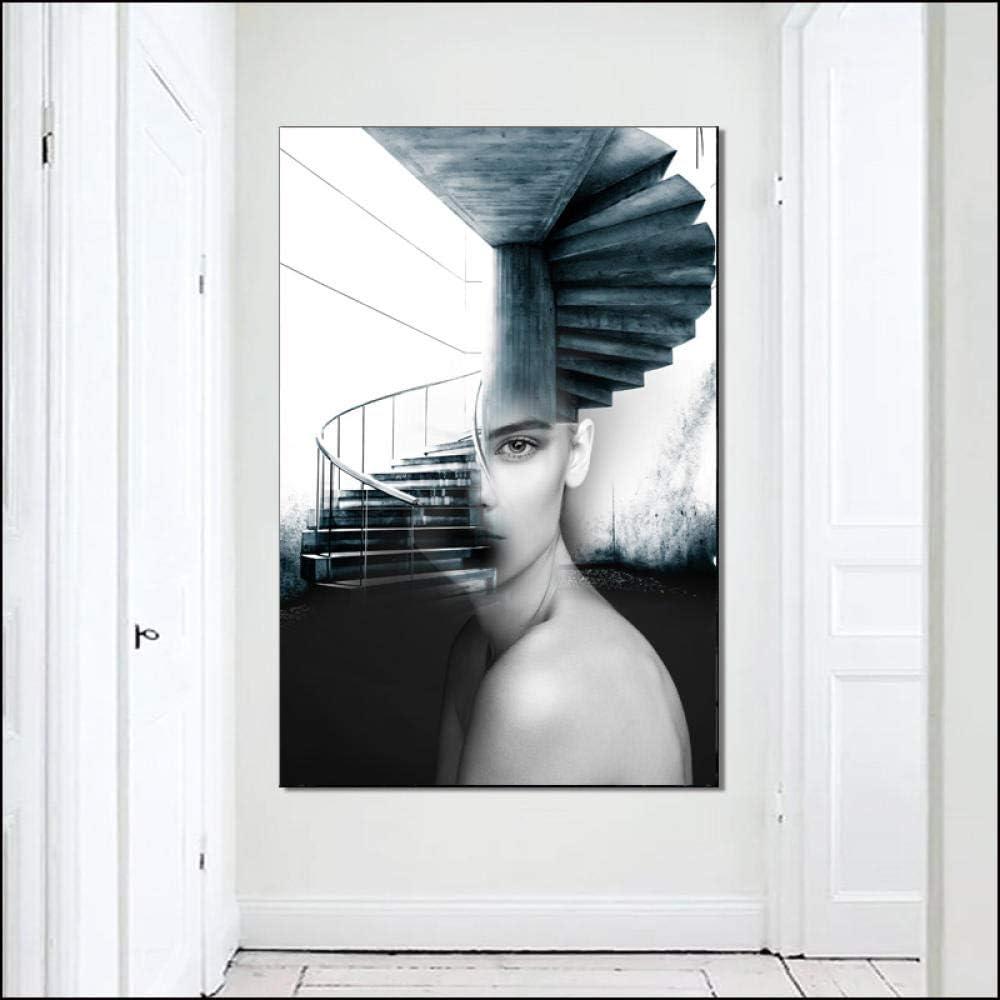 Pinturas al óleo sobre lienzo Arte de la pared Escandinavia Estilo Lienzo Pintura Chica con vestidos Cuadros de la pared para la sala Figura Pintura Cuadros decorativos modernos-70x105cm_Unframed_