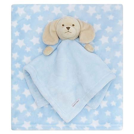 Cesta Cuna mois/és 72cm x 82cm Unisex ni/ña de 0 Meses en adelante Style It Up Cobija de Forro Polar Suave para beb/é reci/én Nacido Comforter//Blanket Set Blue Puppy